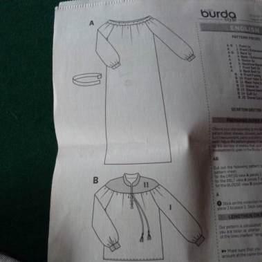 Off shoulder pattern Burda Style 6998